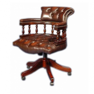 Кабинетное кресло, обивка - натуральная коричневая кожа Арт.12027-E