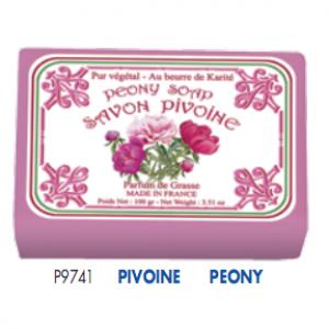 Мыло в бумажной упаковке с ароматом пиона. 12 штук в картонной коробке. Р9741